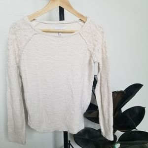 O'Neill Cream Sweater with Crochet Shoulders